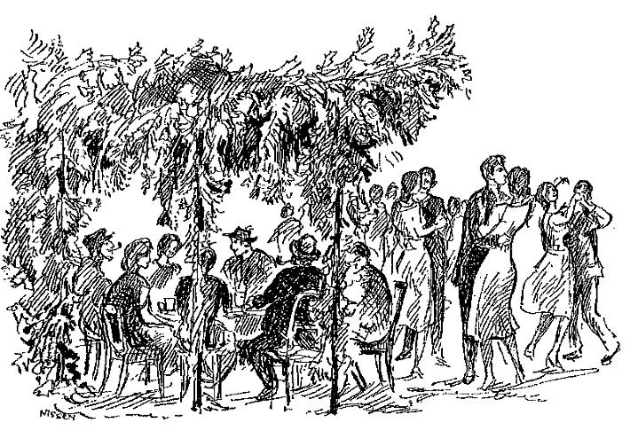 Pfingstheesch in der von den Pfingstknechten aus Laubwerk gebauten Hütte